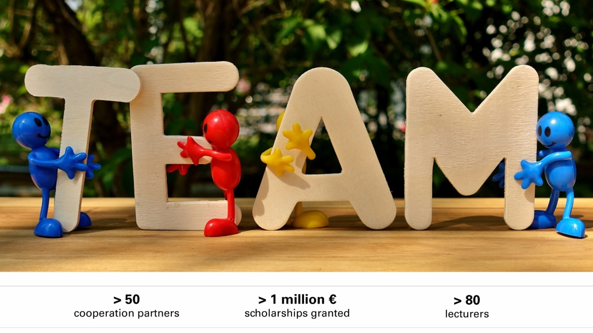 Symbolfoto Team with facts: over 50 cooperation partners, over 1 million euro scholarships granted, and over 80 lecturers