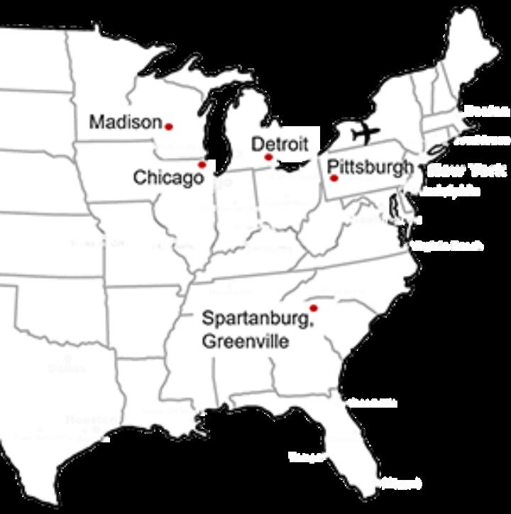 Besichtigte Standorte der IREM USA-Exkursion 2016 | © ontheworldmap.com (c)